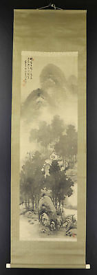 JAPANESE HANGING SCROLL ART Painting Scenery Asian antique  #E1254