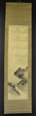 JAPANESE HANGING SCROLL ART Painting Scenery Asian antique  #E1272