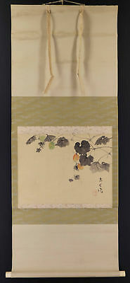 JAPANESE HANGING SCROLL ART Painting  Asian antique  #E1262