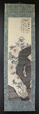 "JAPANESE HANGING SCROLL ART Painting ""Flowers"" Asian antique  #E1252"