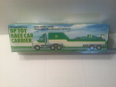 """BP  Toy Race Car Carrier Truck Limited 1993 Edition About 12"""" Long (AG)"""