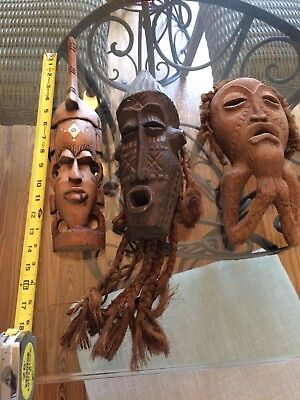 Lot Collection of 3 Vintage African Masks Ivory Colored Inlays