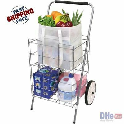 Folding Shopping Cart Basket with Two Wheels for Laundry Grocery Travel Utility