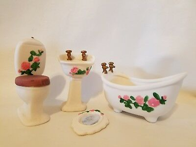 Vtg Rose Floral Painted Ceramic Dollhouse Miniature Bathroom Furniture Set 1:12