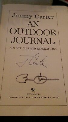 President Barack Obama and President Jimmy Carter signed book An Outdoor Journal