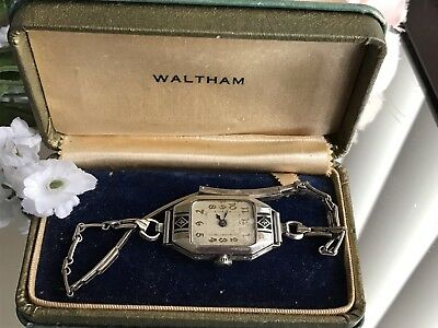 1930's Ladies Art Deco Enamel Waltham Watch  ~  Waltham Case ~Runs