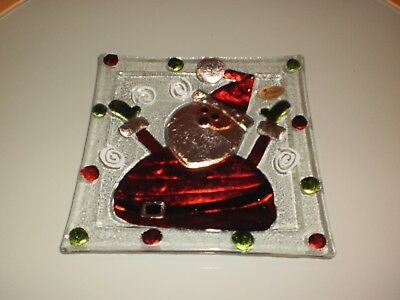 Rikaro Hand Made Art Glass Santa Christmas  Square Plate