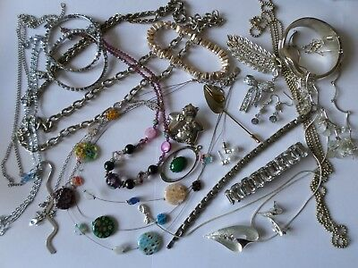 Job lot silver tone costume jewellery necklaces earrings chains bracelets