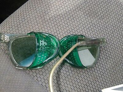 Great Vintage Willson Green Safety Glasses Goggles Green Tinted Lenses Foldup