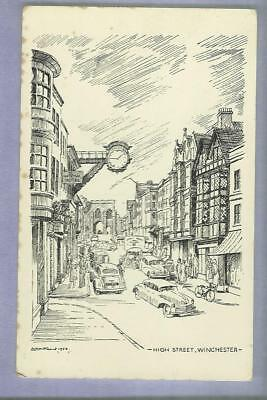 Postcard, High street, Winchester, vintage, City cross, 16