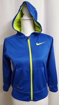 Nike Therma-Fit Blue/Neon Yellow Full Zip Hoodie MEDIUM Youth (#H)