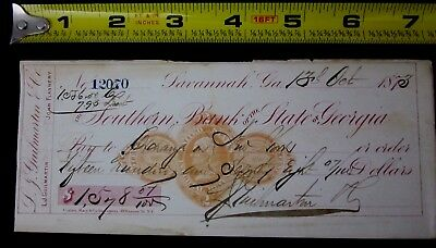 Southern Bank of the State of Georgia Bank check from 1873 Savannah, Georgia
