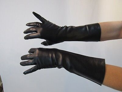 "Vintage Womens Leather Gloves 13"" Long Black Size 7 (UU26)"