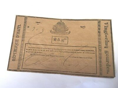 Pictoral 1827 Haiti Banknote 25 gourdes with Ink Signature Estate Collection