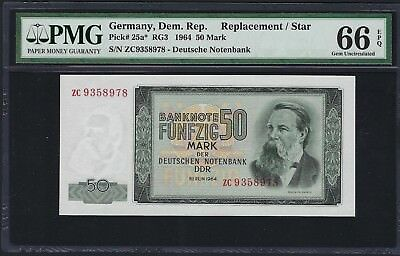 Germany, Democratic Republic 1964 P-25a* PMG Gem UNC 66 EPQ 50 Mark *Replacement
