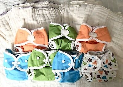 Lot Of 7 Thirsties Size 1 Diaper Covers And 24 Cloth Diapers