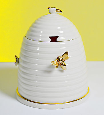 Lenox BEEHIVE HONEY Pot Jar China Vintage with Gilded Bees MINT c1970s