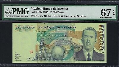 Mexico 1985 P-89b PMG Superb Gem UNC 67 EPQ 10,000 Pesos