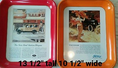 Vintage Ford trays- 2. Freedom for the woman... and The new Ford Station Wagon