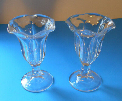 Vtg 50s Ice Cream Glasses Soda Fountain Parfait Sundae bowl dish set-Pedestal
