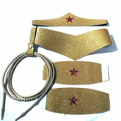 Wonder Woman Costume Accessory Set Choose  Size Tiara, Cuffs, Lasso and Belt
