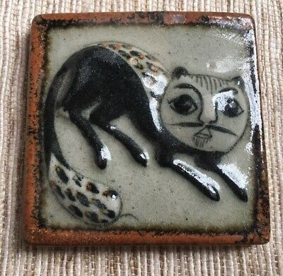 Mexican Burnished Tile w Raised Black Cat Relief~Wall Art~Folk Art~Pottery