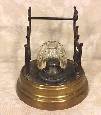 Antique Inkwell Patented 1866 w/ Porcelain Bowls & Brass Asian Motif Pen Holders