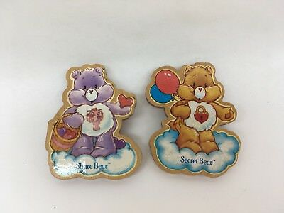 Care Bear Vintage 1984 Wooden Magnets - Share & Secret Bears