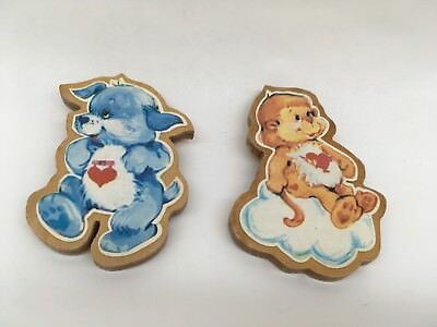 Care Bear Cousins Vintage 1985 Wooden Magnets - Rabbit & Monkey
