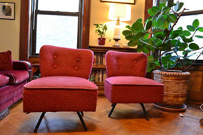 Viintage Wingback Slipper Lounge Swivel Chairs Mid Century, original fabric