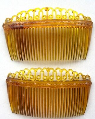2 Delicate 1940s BRITISH MADE Amber Plastic 9cm Hair Combs