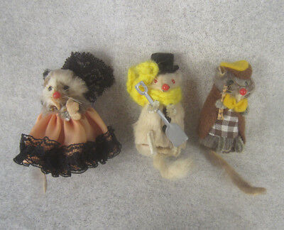 Vintage Little Mouse Factory & W. German Dressed Fur Mice labeled NM doll house