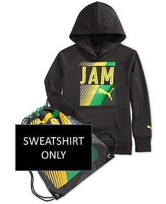 NEW Boys PUMA Youth XL JAMAICA GRAPHIC PRINT HOODIE BLACK GREEN GOLD