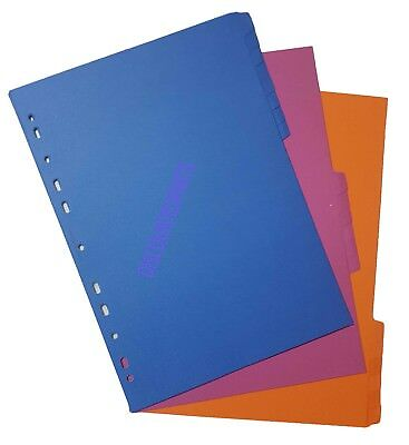 A4 Folder Dividers A4 Subject Dividers 20 Part Punched Index Sheet File Dividers
