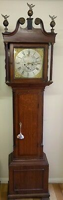 Victorian Eight Day Oak Cased  Brass Faced Grandfather Clock Barnsley Maker