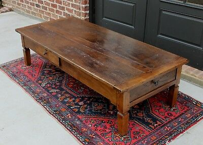 Antique French Country Primitive Rustic Oak Farm Farmhouse Coffee Table Drawers