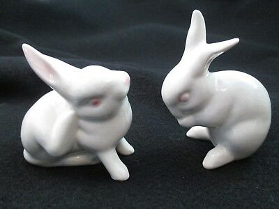 2 Vintage Goebel figurines  small white bunnies rabbits  West Germany Easter