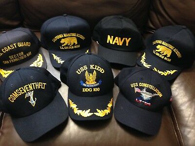 Lot Of 7 USS Hat Cap strap Snap back Retired Military Veteran Navy Made In USA !