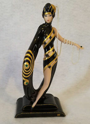 Vintage Franklin Mint Erte Figurine - Pearls and Emeralds N5339 Fine Porcelain