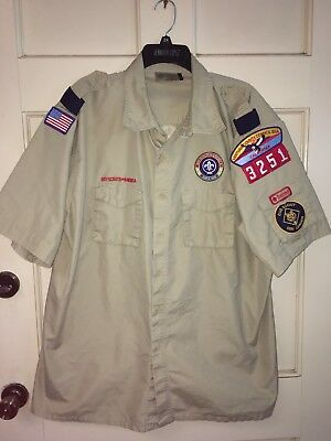 Boys Official BSA Boy Scout Short Sleeve Shirt Tan Adult Size 2XL With Patches