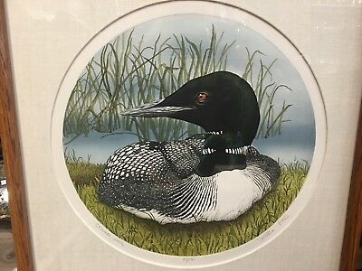 Sue Ellen Ross Common Loon Framed Lithograph limited edition 15/350