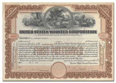 United States Worsted Corporation Stock Certificate (Fantastic Sheep Vignette)
