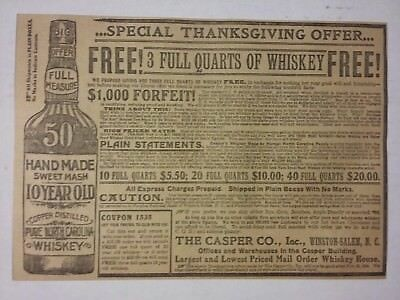 1904 Handmade Sweet Mash 10 yr old Pure North Carolina Whiskey Ad Casper Co