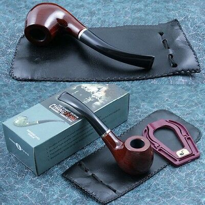 Solid Wood Vintage Tobacco Smoking Pipe + Filter Element + Pouch + Shelf
