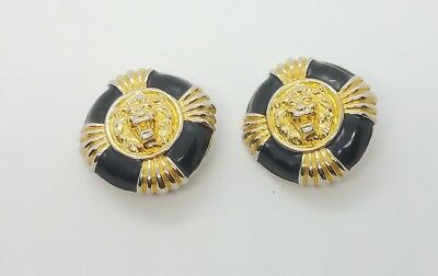Vintage Black and Gold Tone Lion Head Clip-On Earrings