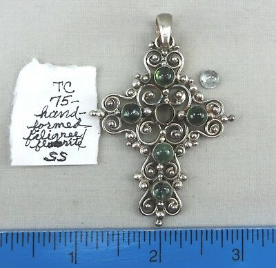#3 - 3 Sterling Silver Gemstone Crosses, Approx. 32 Grams