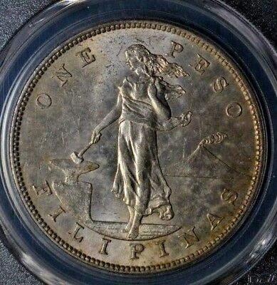 US-Philippines 1903-S Shield Type Territorial 1 peso silver crown PCGS MS-62