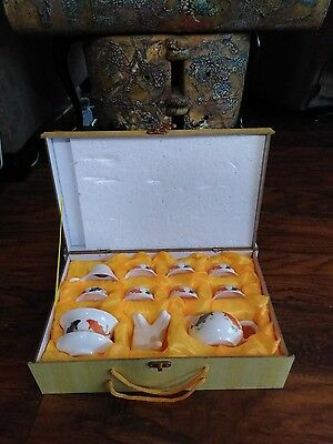 Jing Pin Yu Ci Chinese Tea Set Lip Fish Design With Case