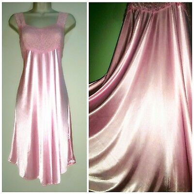 Vintage ~Glossy Satin~ Slip Gown ~Stretch Lace Top~ Pink Nightgown~ xl/xxl