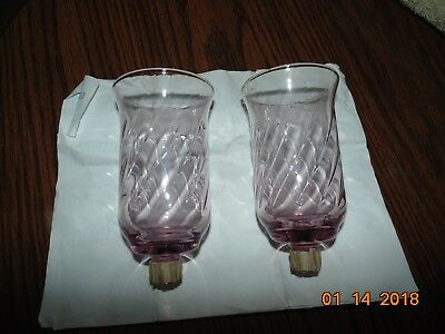 2 HOME INTERIORS HOMCO VOTIVE CUP TALL pink rose  cranberry SWIRL  CUPS peg lot